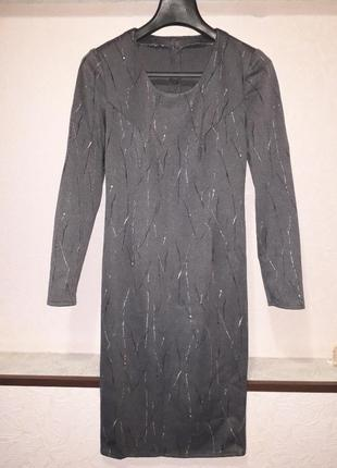 Женское платье миди футляр с рукавом в принт осень зима демисе...
