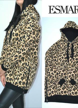 Теплая пайта с начесом платье оверсайз леопардовый принт esmar...