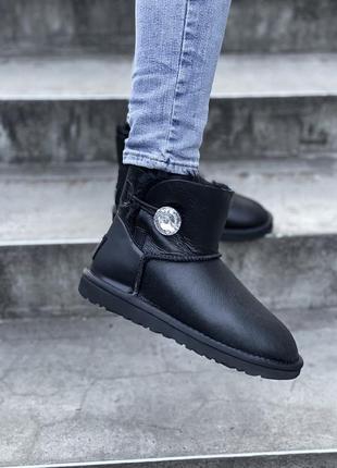 Женские стильные кожаные зимние угги, ugg black