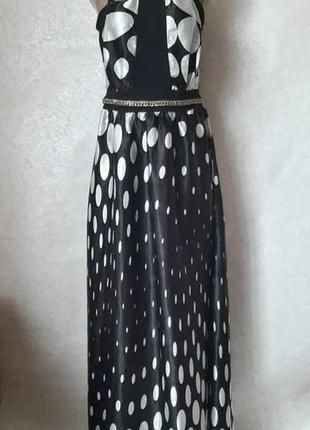 Нарядное платье в пол в чёрно-белый крупный горох, размер л-ка