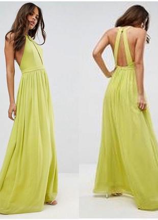 Платье шифоновое в пол с открытой спиной, лаймовый сарафан макси