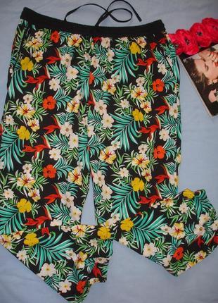 Брюки штаны летние пляжные размер 52 /18 черные на резинке на ...