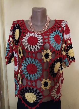 Ексклюзив! оригінальна блузочка-пончо (рішельє, кружево) в яск...