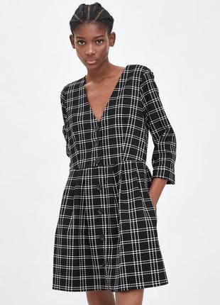 Платье в клетку с пуговицами от zara