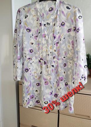 Легкая летняя рубашка блуза цветочный принт коттон с шелком