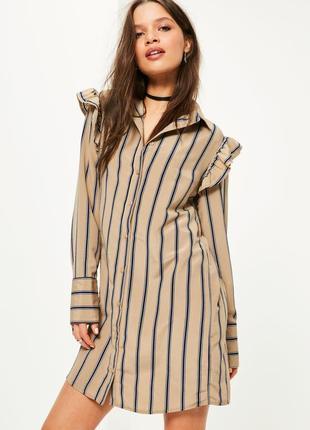 Платье рубашка в полоску с воланами