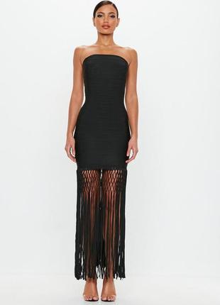 Премиум коллекция. бандажное черное платье с бахромой