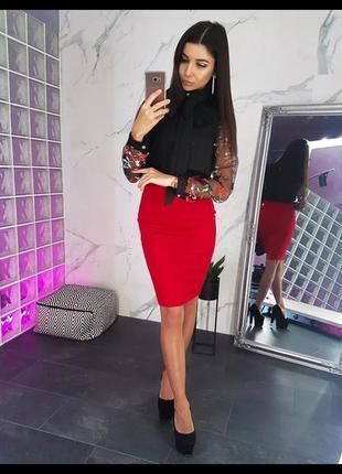 Женская красная юбка карандаш с разрезом  лето осень зима деми...