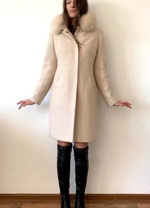 Зимнее кашемировое пальто мех песец