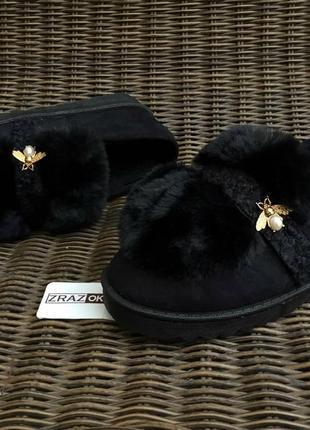 Sale угги слипоны зимние на меху короткие ботинки тапки теплые