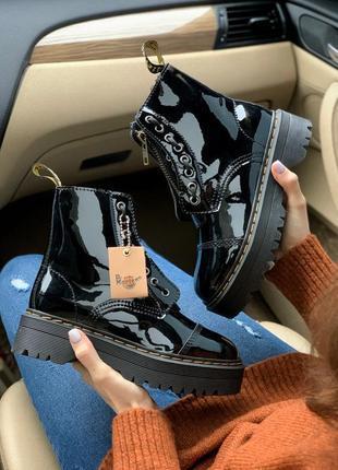 Женские зимние кожаные ботинки/ сапоги dr. martens jadon paten...