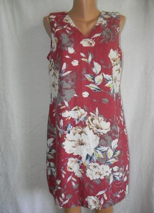 Красивое платье лен с цветочным принтом