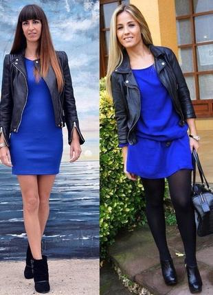 Женское синее нарядное коктейльное платье футляр по фигуре с р...