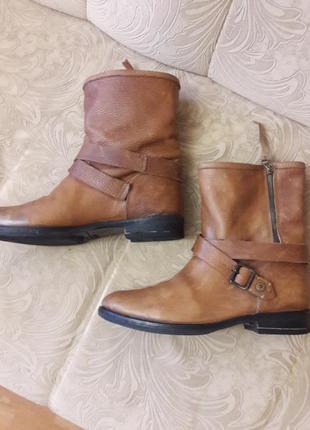 Кожаные сапоги ботинки на змейке в идеальном состоянии