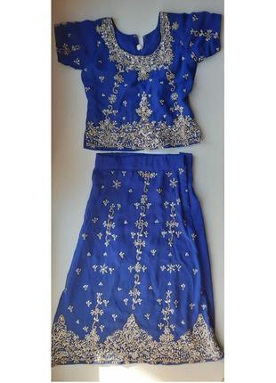 Синий костюм восточный индийский с вышивкой расшитый