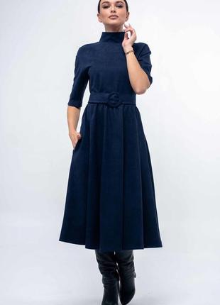 Стильное платье темно-синее весна 2020