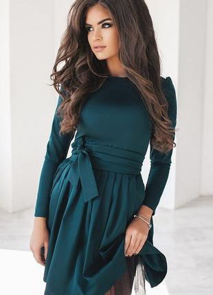 Платье мемори-коттон, фатиновый подъюбник, 2 цвета