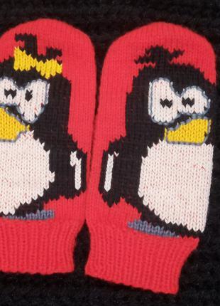 Вязаные варежки с пингвинами. Женские вязаные рукавички.