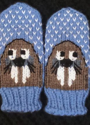 Варежки женские. Вязаные рукавички. Моржи )