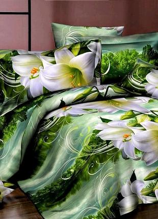 Хлопковое полуторное постельное белье лилии