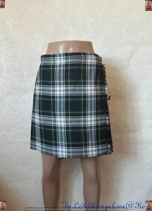 Фирменная крутая шерстянная на 40 % мини юбка плиссе на запах ...