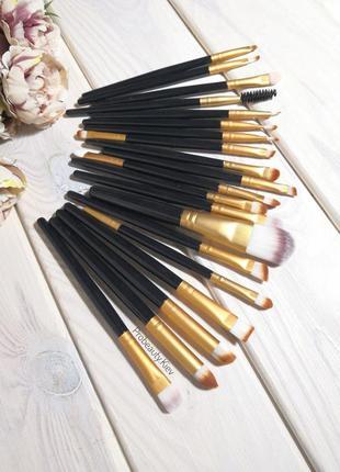 Кисти для макияжа набор 20 шт black/gold probeauty