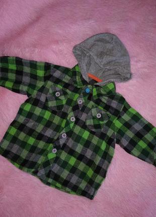 Яркая рубашка на мальчика george зелёная клетка