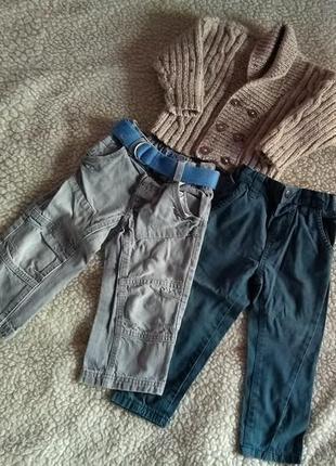 Двое джинс и кофта вязаная 12-18 м