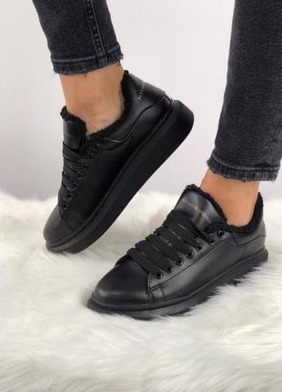 ❄️alexander mcqueen black❄️зимние женские кроссовки/кеды макви...