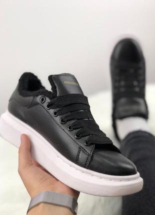 ❄️ зимние alexander mcqueen black white❄️женские кроссовки/кед...