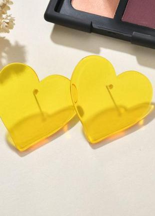 Серьги прозрачные сердца желтого цвета