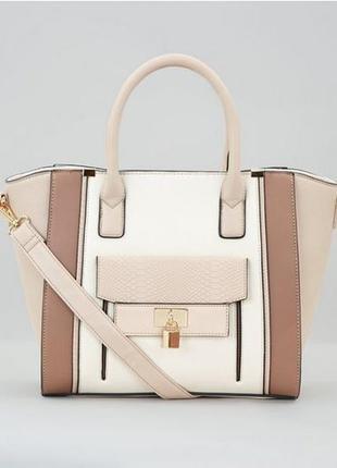 Стильная пудровая сумка вместительная, кожаная шоппер