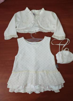 Платье в горошек на малышку с болеро и сумочкой