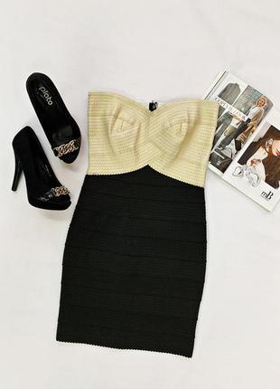 Бандажное платье с золотым верхом