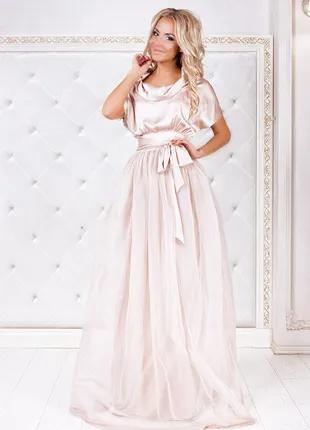 Платье гипюрная сетка, фатиновый подъюбник, шелк-армани 42-46