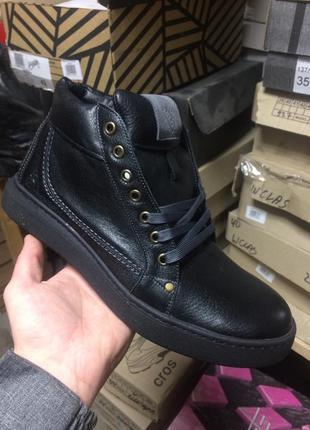 Мужские ботинки кожаные зимние черные bastion 18082ч