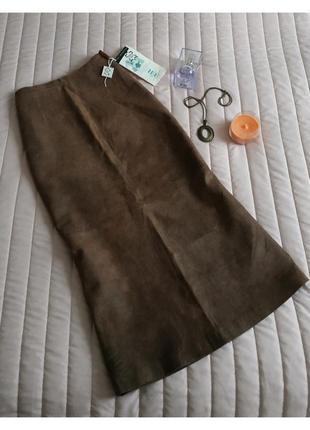 Натуральная кожаная юбка, миди (100% натуральная кожа)