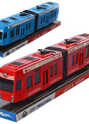 Трамвай KX905-14 инерционный 31см 2 цвета в слюде 33 5-9-7см