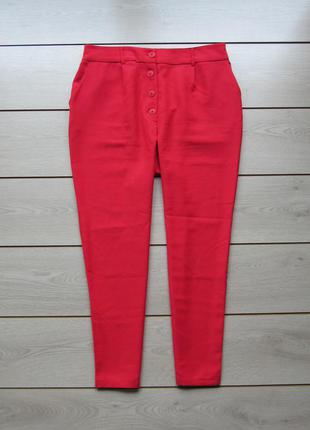 Яркие укороченные зауженные брюки высокая посадка от clockhouse