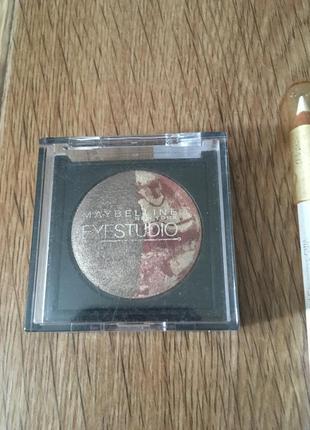 Тени бронзово коричневые от maybelline eyestudio duo+ карандаш...