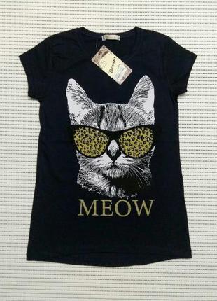 Футболки meow кот для девочек 8-12 лет. benini