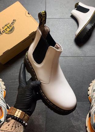Dr martines chelsea white мех, ботинки женские доктор мартинс ...