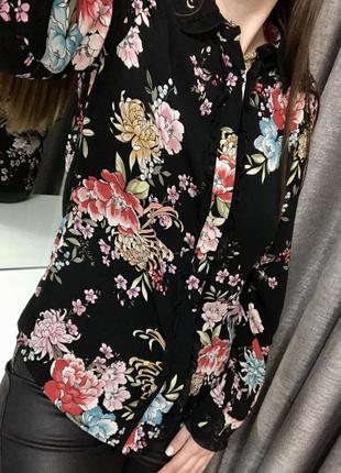 Чёрная блуза в цветочный принт, блуза в цветок 💐 marks & spencer