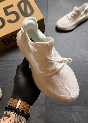 Adidas yeezy boost 350 v2 full white, женские-мужские кроссовк...