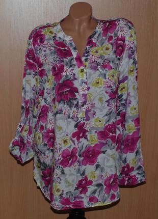 Блуза в цветочный принт бренда peacocks / регулируемый рукав/