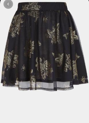 Пышная юбка из сетки с золотым рисунком