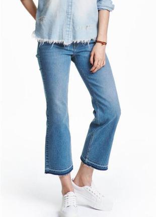 H&m divided укороченные стильные прямые джинсы с необработанны...