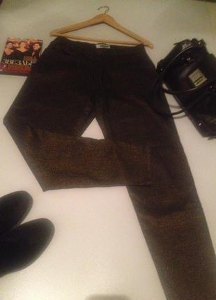 Оригинальные стрейчевые джинсы с люрексом высокая посадка l.1003