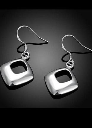 🏵 стильные серьги в серебре 925 ромбы, новые! арт. 9472