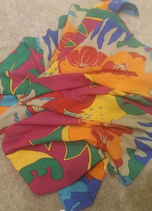 Яркий цветной платок шелк 100% шов роуль италия